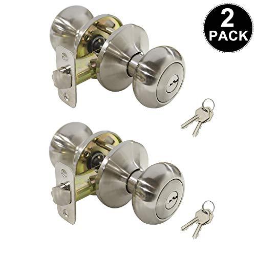 2 Pack Entrance Door Knobs Keyed Alike/Combo Keys Entry Door Handle Sets, for Office/Front Door/Exterior/Interior Door Use, with a Satin Nickel Finish, Reversible for Right & Left Handing