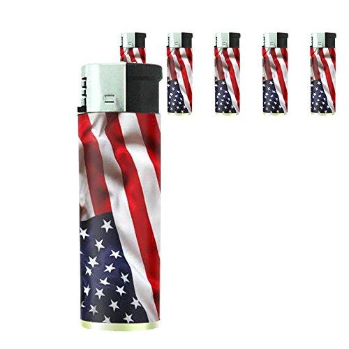 Vintage American Flag Set of 5 Lighters D4 Patriotic Freedom American Heroes Veterans by Perfection In Style