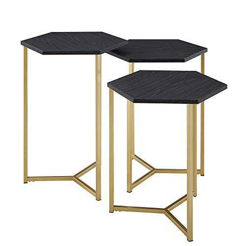 (Delacora BDF16HEX3GR Hex Three Piece Wood Top Laminate and Metal Accent Table)