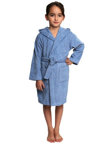 TowelSelections Little Girls' Robe, Kids Hooded Cotton Terry Bathrobe Cover-up Size 4 Blue