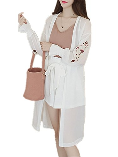 - JIANGTAOLANG Women Floral Embroidery Chiffon Blouse Korean Flare Sleeve Long Shirt White One Size