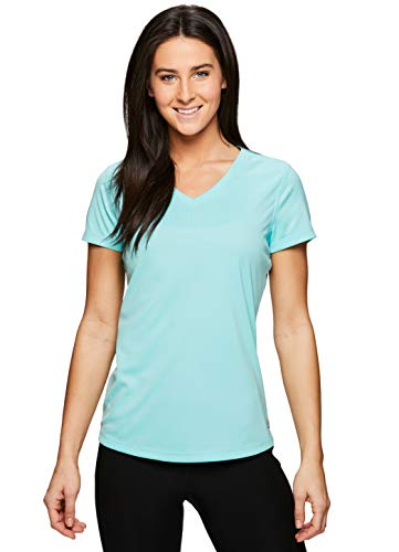 (RBX Active Women's Short Sleeve V-Neck Workout Running Yoga T-Shirt S19 Blue S)