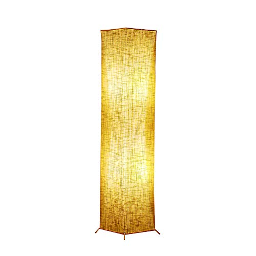 Floor Lamp, CHIPHY Square Standing Lamp, with Brown Linen Shade and 2 LED Bulbs, Modern and Contemporary for Living Room, Bedroom and Office(10
