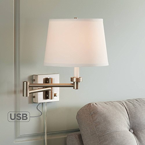 Vero Brushed Nickel Plug-in Swing Arm Wall Lamp with USB - 360 Lighting