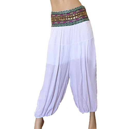 Pantalón bombacho blanco cintura étnica