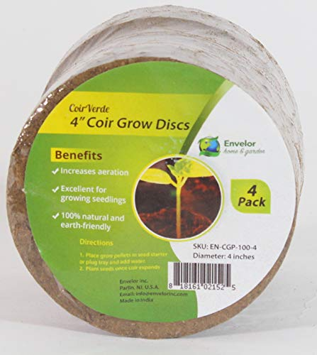 Envelor Home and Garden Coir Grow Discs Potting Soil Coco Discs Seed Starter Pellets Coconut Peat Pellets Indoor Outdoor Garden Plants and Vegetables for Plant Trays and Pots