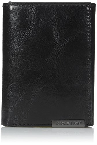 dockers-mens-trifold-wallet-with-docker-plaque-logo-black-one-size