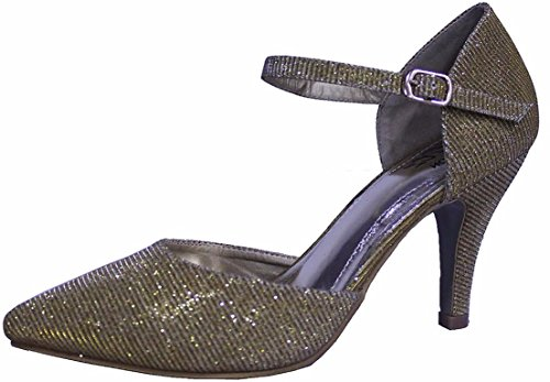 Ladies Womens Sparkly Evening Stiletto Sandals Shoes Gold 6oLC7