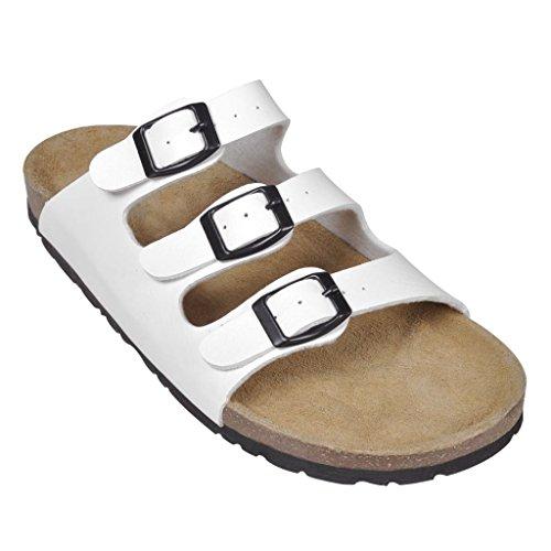 Sandales unisexes blanches en liège bio avec 3 brides à boucle T 39 HTR1edxst
