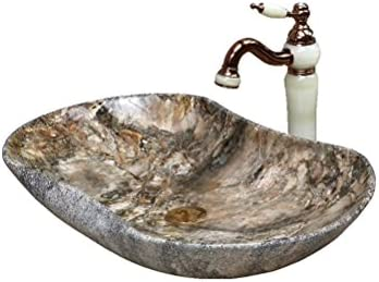 Minmin 浴室セラミック盆地個性洗面台大サイズカウンター盆地アート盆地洗面台付き蛇口セット、66.5×41.5センチ 芸術流域