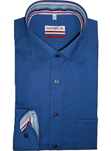 MARVELIS Modern Fit Hemd extra langer Arm mittelblau AL 69