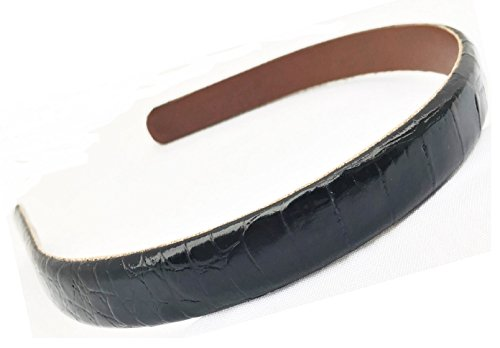 (Gator Embossed Calf leather Headband handmade in USA (Black) 5/8