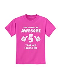 TeeStars - This Is What an Awesome 5 Year Old Looks Like Funny Kids T-Shirt