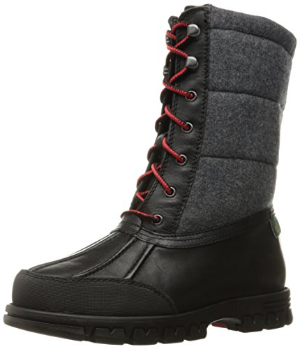 Lauren by Ralph Lauren Women's Quinlyn Snow Boot, Black/Grey Leather/Flannel, 6 B US by Lauren by Ralph Lauren
