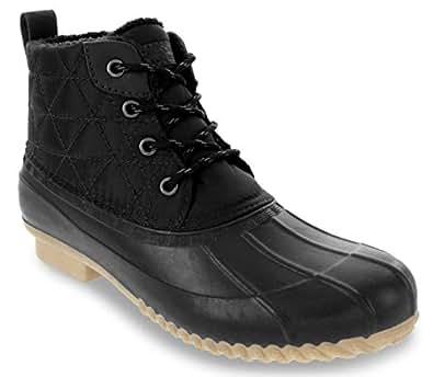 London Fog Womens Winley Nylon Quilt Duck Boot Black 6