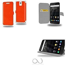 Orange Python Collection Serpent Funda de Cuero para ZUK Z1 Flip Case Cover (Estuche) PU Cuero - Funcion de Soporte / Billetera con Tapa para Tarjetas- Accesorios Case Industry Protector