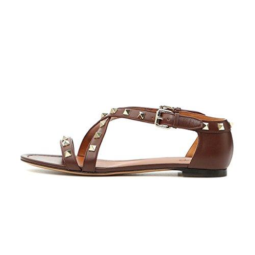 Sandali Con Scollo Tacco Tempestato Vintage Xyd Scarpe Aperte A Punta Piatta Cinturini Incrociati Da Donna Mocassini Estivi Marrone