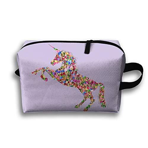 Womens Girls Cosmetic Bag Travel Handbag Bag COLOUR RUN HOUSE Prints Makeup Toiletry Bag Zipper Wallet With Wrist Band