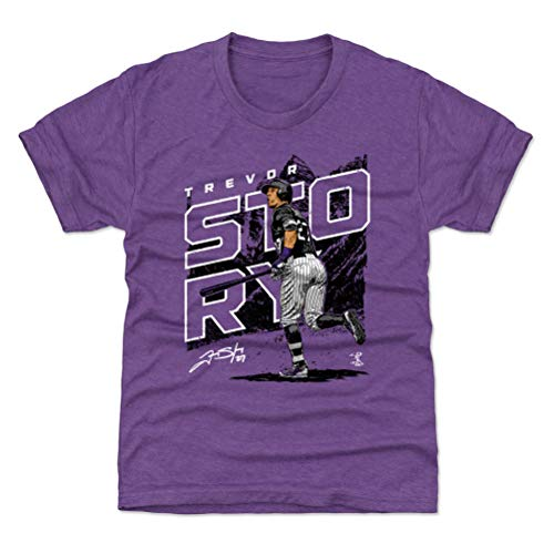 (500 LEVEL Trevor Story Colorado Baseball Youth Shirt (Kids Large (10-12Y), Heather Purple) - Trevor Story Player Map K WHT)