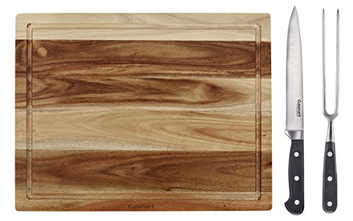 Cuisinart C77TRCS-3P Triple Rivet Collection 3-Piece Carving and Acacia Wood Cutting Board Set