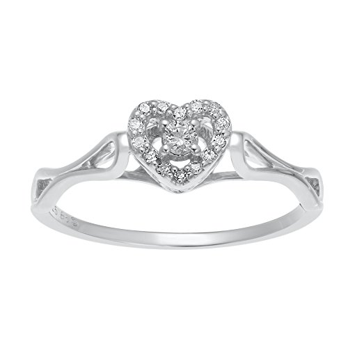 1/10 cttw Diamond Heart 925 Sterling Silver Ring Size 9 from B.I.G. Jewelry Co