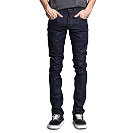 Victorious G-Style USA Men's Skinny Fit Premium Thread Quality Denim Blue Jeans