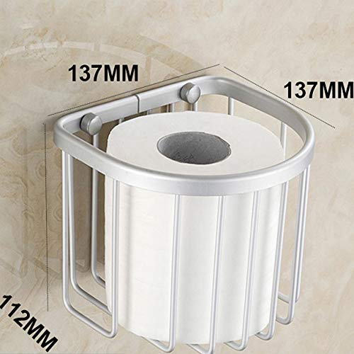 Easy to Assemble Aluminum Postbox Type Toilet Paper Roll Shelf Holder Case with Cover Roll Tissue Box,1#