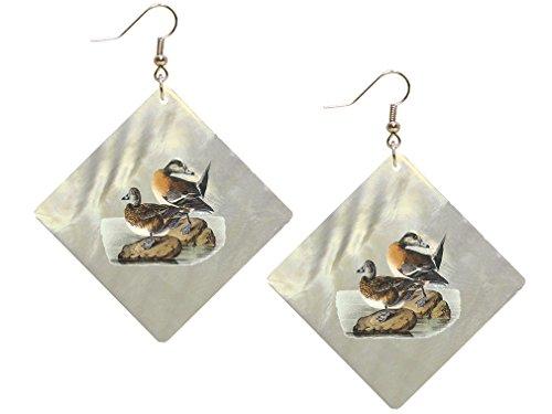 American Wigeon James Audubon Birds Shell Earings & Pendant Set Square