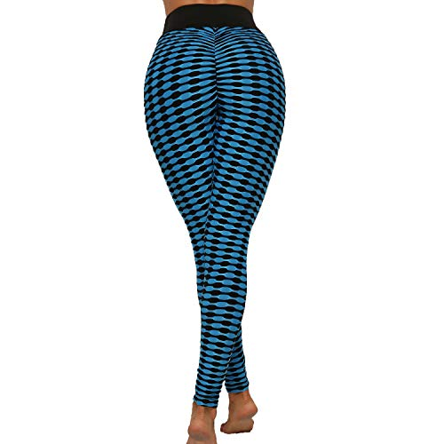 FITTOO Womens High Waist Textured Workout Leggings Stripes Booty Scrunch Yoga Pants Ruched Tights Black Blue XL