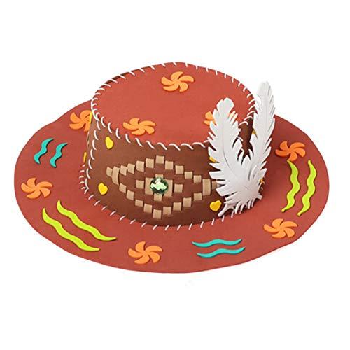Starlit 3D Bright Color Puzzle DIY Handmade EVA Hat Children Art Craft Birthday Gift Educational Toy Chocolate Color