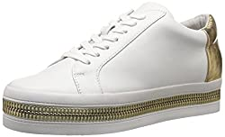 Rachel Zoe Women's Collette White/Black Nappa/Nappa Sneaker 9 M