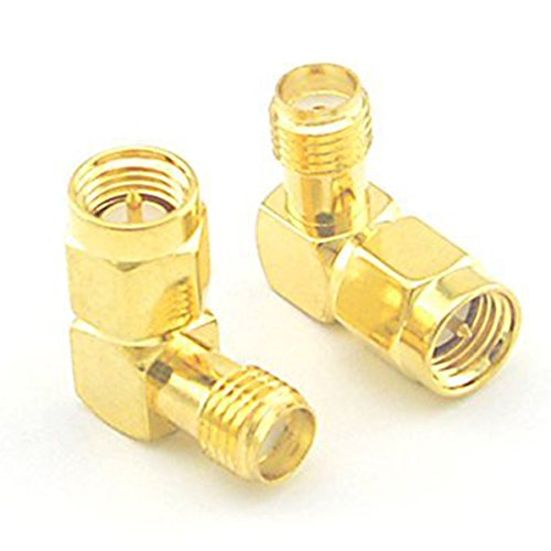 Teflon Insulator (SODIAL(R) SMA Male to Female Right Angle 90-Degree Adapter Gold Plated Contacts Pack of 2)