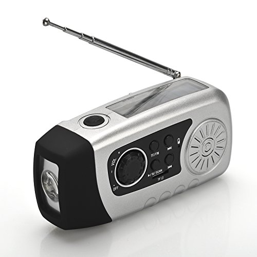 Solar Powered Wind Up Radio (FM or SD card for MP3 playing) & Charger (USB) & LED Flashlight - Mini, Portable & Handheld - Color Silver