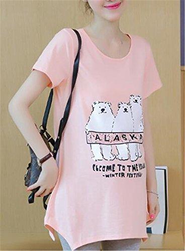 Loose Pregnancy T Shirt Rosa Stampato Top Incinta Gogofuture Allentato Donna Gravidanza Classiche Camicetta da Maternity Partorire wnCgIq