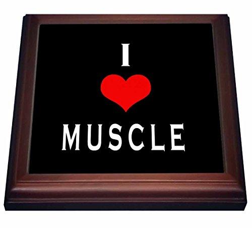 "3dRose trv_233920_1 I I Love Muscle Saying Trivet With Tile, 8"" x 8"", Brown"