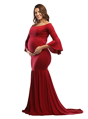 - JustVH Maternity Fitted Gown Off Shoulder Flare Long Sleeve Mermaid Maxi Photography Dress