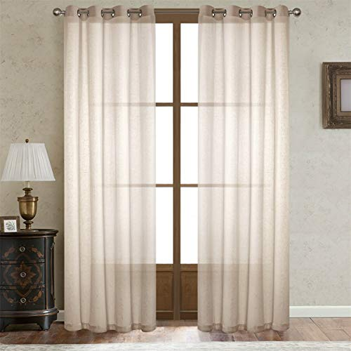 Dreamig Casa Beige Linen Sheer Curtains for Bedroom, Solid Semi Sheer Grommet Top Two Panels for Living Room (2 Panels, 52''W x 84''L) 84' Long Curtain Drapery