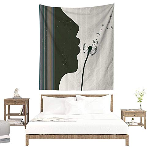 (alisoso Wall Tapestries Hippie,Modern,Silhouette of a Woman Girl Portrait and Dandelion Flower by Vertical Color Stripes,Multicolor W63 x L63 inch Tapestry Wallpaper Home Decor)