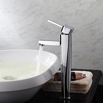 Lightinthebox® Deck Mount Contemporary Solid Brass Bathroom Sink Faucet Chrome Finish Tall Simple Spout Single Handle Bar Faucets Single Hole Vessel Sink Faucets Lavatory Plumbing Fixtures Ceramic Valve Included Bathtub Mixer Taps Bath Shower Faucet
