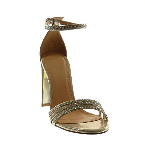 Angkorly cm Mode Sandale Lanière Or Diamant Strass Talon Multi Chaussure Bloc 10 Haut Femme Bride Cheville qRraq