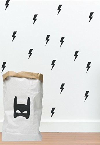 Black lightning bolt wall decals by Studio Picco | Boys room decor, Batman themed nursery, 24 pcs