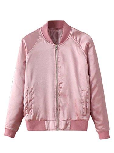 Satin Baseball Jacket (Charles Richards Women Pink Zip Up Stain Fall Party Bomber Jacket,Pink,Small)