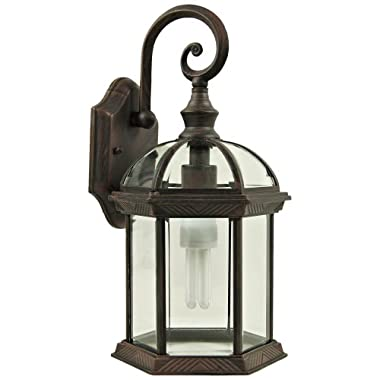 Yosemite Home Decor 5271VB Anita 1-Light Outdoor Wall Sconce with Clear Beveled Glass Shade
