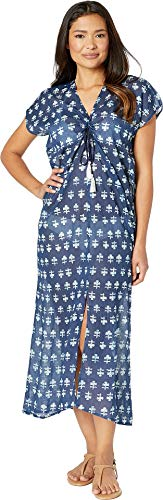 Hat Attack Women's Apres Beach Cover-Up Navy Block Print One Size