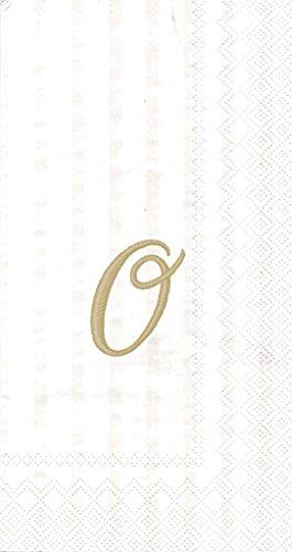 Ideal Home Range 3-Ply Paper Ivory Monogram, 16 Count Guest Towel Napkins Letter O, Set of 2