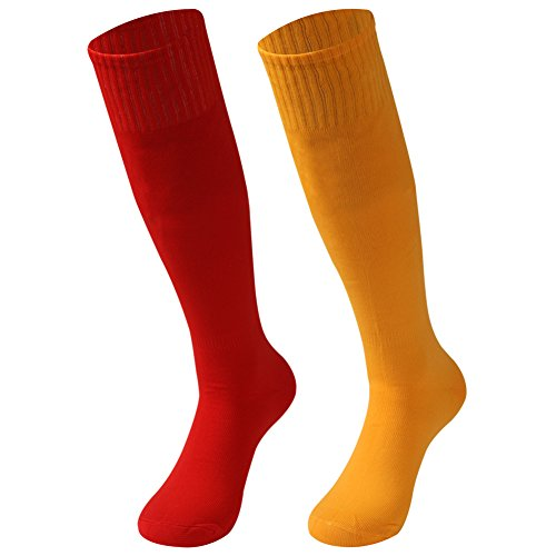 saounisi Unisex Volleyball Socks ,2 Pairs Team Socks Knee High Dress Casual Bright Solids Football Soccer Team Sports Tube Long Cheering Squad Socks Size 9-13 Orange/Red]()