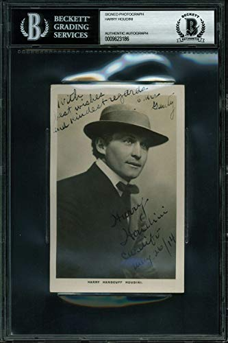 Harry Houdini Cardiff May 26/14 Autographed Signed 35X55 Postcard Photo Bas Slabbed - Certified Signature from Sports Collectibles Online