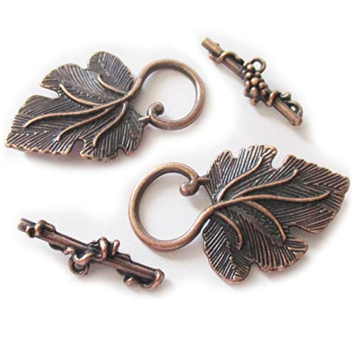 Heather's cf 16 pcs Copper Grape Leaves Big Clasp Toggle Findings Jewelry Making 37X22/25X8mm