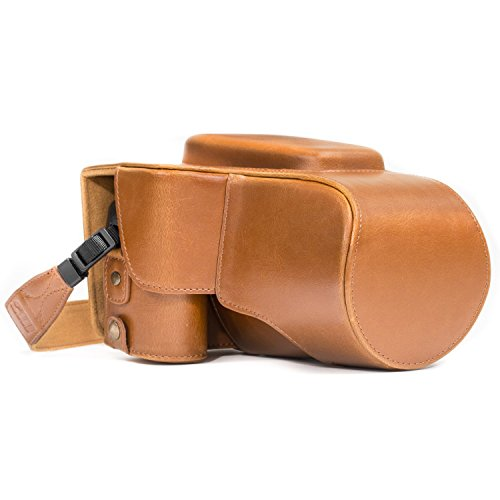 MegaGear Nikon Coolpix P900, P900S Ever Ready Leather Camera Case and Strap, with Battery Access - Light Brown - MG980