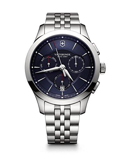 Victorinox Swiss Army Alliance 44MM Blue Face Chronograph Day & Date Mens Stainless Steel Swiss Watch - Blue Watch Swiss Dial Army